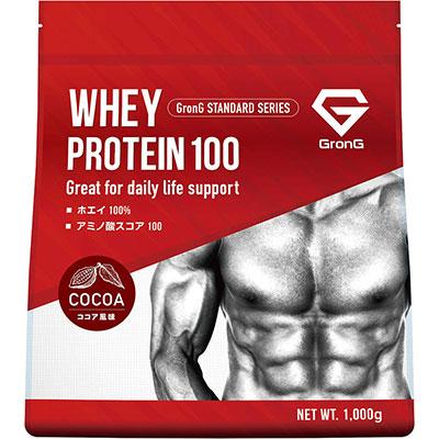グロング プロテイン ホエイプロテイン100 ココア風味 1kg 国産口コミ